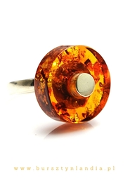 Silver ring with baltic amber