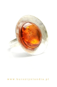 original ring with baltic amber  - COGNAC.