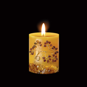 Hand made candle with baltic amber