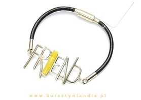Bracelet with baltic amber and silver inscription FRIEND