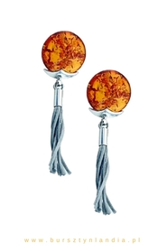 Silver earrings with amber and tassel! COGNAC