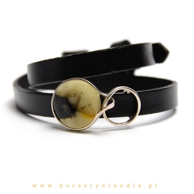 Lathern bracelet with amber BLACK