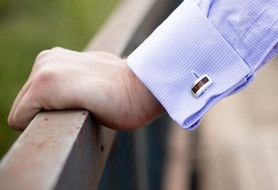 Silver cufflinks with amber.