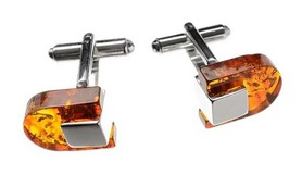 Silver cufflinks with amber. COGNAC amber.