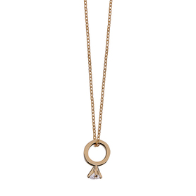Silver necklace with gold pendant.