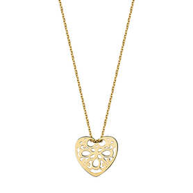 Silver necklace 925 with open heart - gilded.