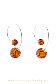 Hanging earrings with amber