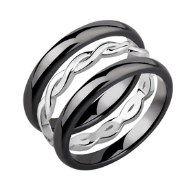 Ceramic black ring with sign of infinity.