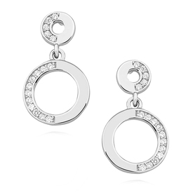 Romantic silver earrings with zircons.
