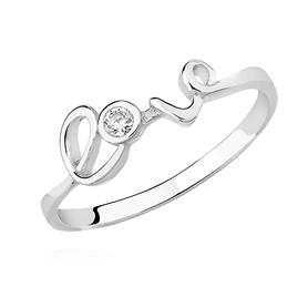 Silver LOVE ring with white zirconia.