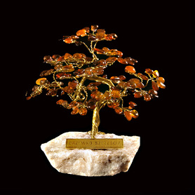 Hand made tree of good luck with natural amber stones