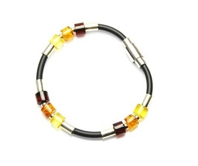 Men's bracelet with baltic amber.