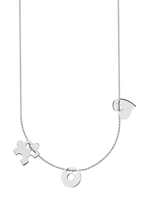 Necklace of happiness with a circle, heart and a puzzle.