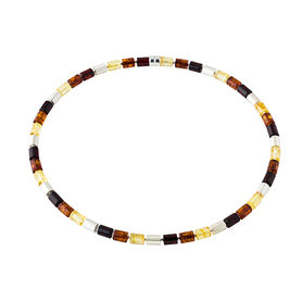 Classic necklace made of baltic amber and silver rolls.